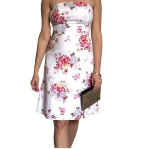 strapless white casual dress pink red flowers 5